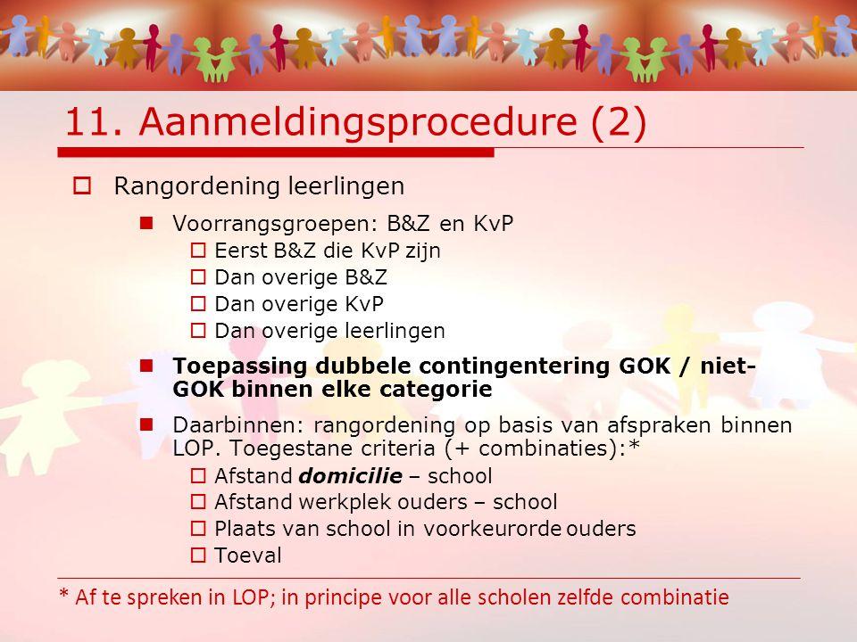11. Aanmeldingsprocedure (2)  Rangordening leerlingen Voorrangsgroepen: B&Z en KvP  Eerst B&Z die KvP zijn  Dan overige B&Z  Dan overige KvP  Dan