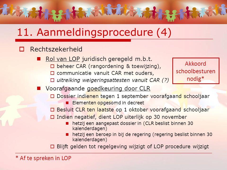 11. Aanmeldingsprocedure (4)  Rechtszekerheid Rol van LOP juridisch geregeld m.b.t.