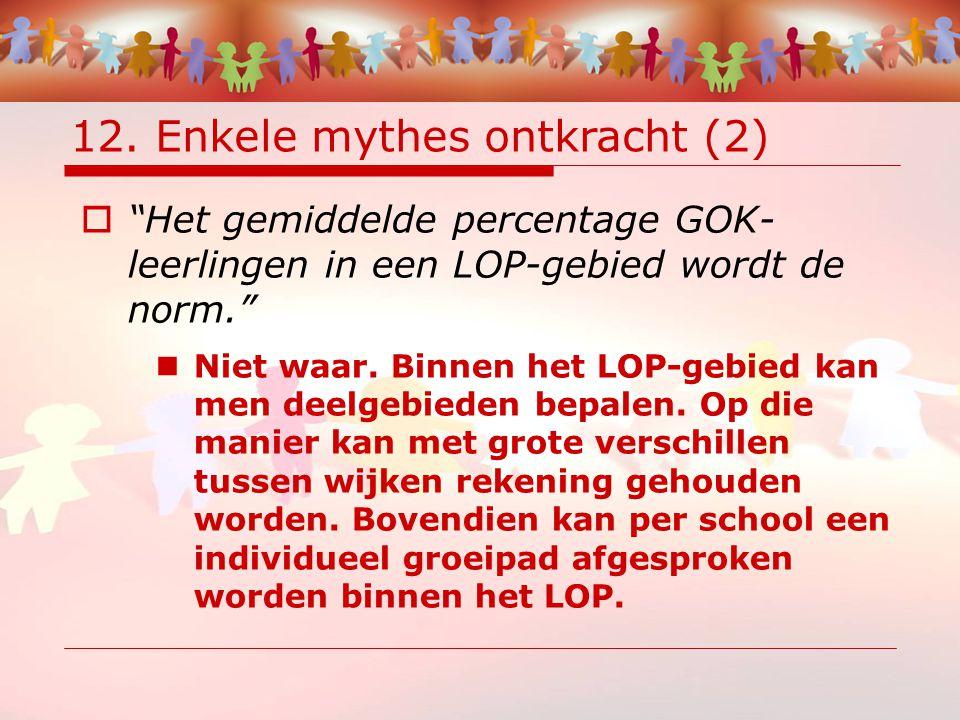 """12. Enkele mythes ontkracht (2)  """"Het gemiddelde percentage GOK- leerlingen in een LOP-gebied wordt de norm."""" Niet waar. Binnen het LOP-gebied kan me"""