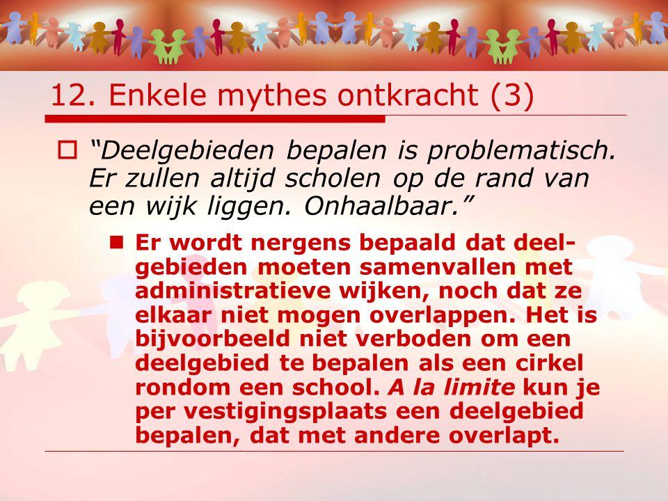 12. Enkele mythes ontkracht (3)  Deelgebieden bepalen is problematisch.