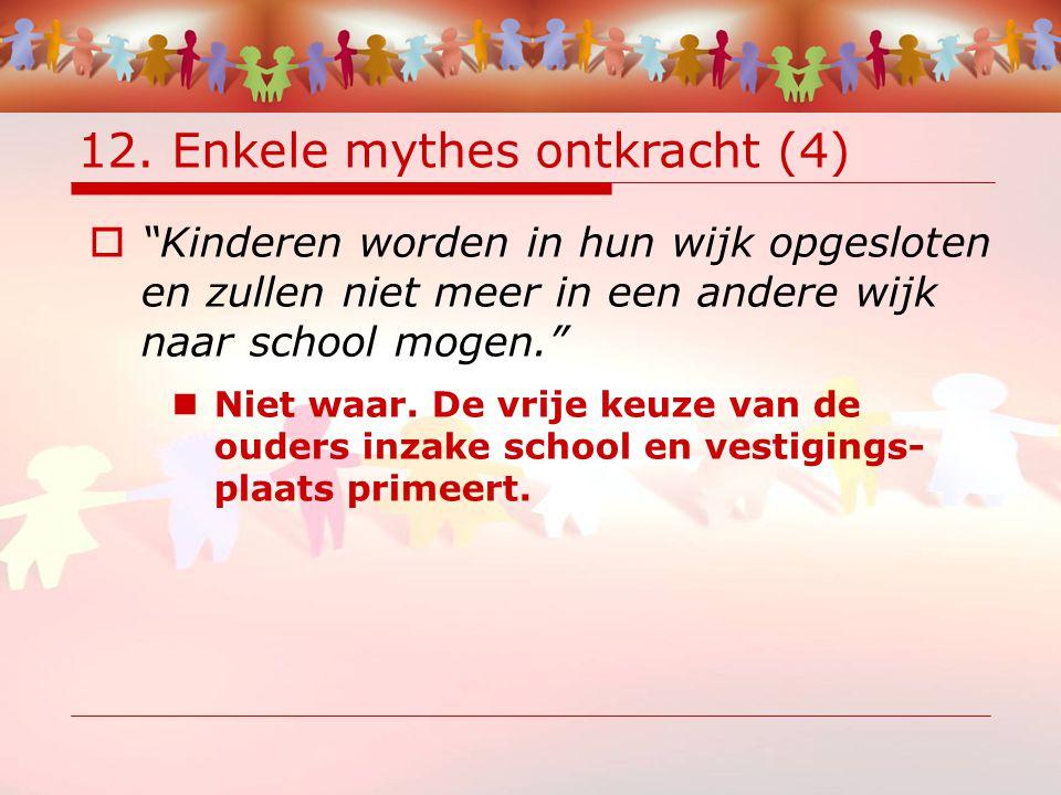 """12. Enkele mythes ontkracht (4)  """"Kinderen worden in hun wijk opgesloten en zullen niet meer in een andere wijk naar school mogen."""" Niet waar. De vri"""