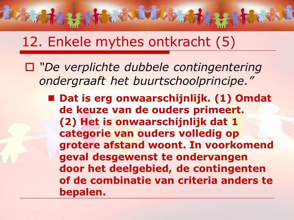 """12. Enkele mythes ontkracht (5)  """"De verplichte dubbele contingentering ondergraaft het buurtschoolprincipe."""" Dat is erg onwaarschijnlijk. (1) Omdat"""