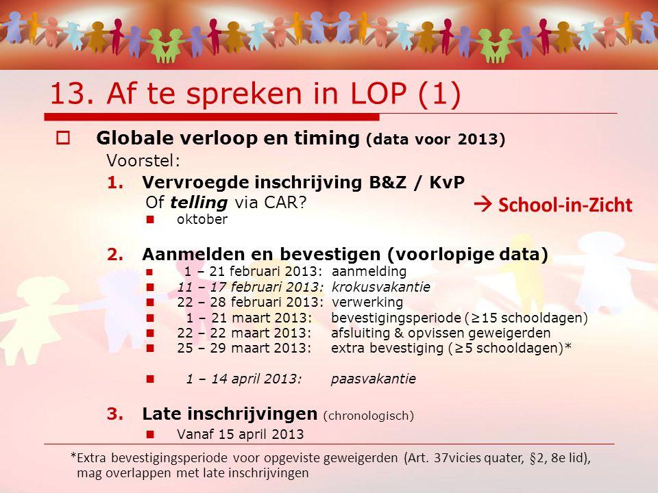 13. Af te spreken in LOP (1)  Globale verloop en timing (data voor 2013) Voorstel: 1.Vervroegde inschrijving B&Z / KvP Of telling via CAR? oktober 2.