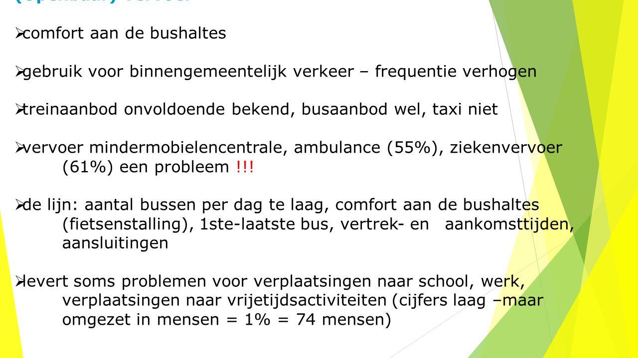 (Openbaar) vervoer  comfort aan de bushaltes  gebruik voor binnengemeentelijk verkeer – frequentie verhogen  treinaanbod onvoldoende bekend, busaan