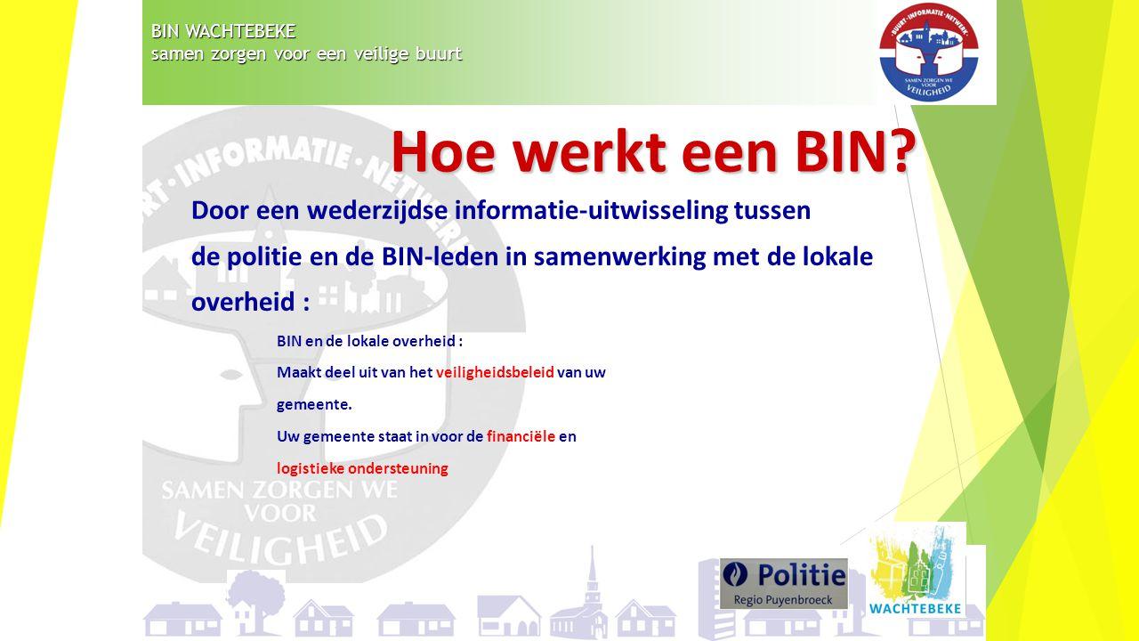 BIN WACHTEBEKE samen zorgen voor een veilige buurt Door een wederzijdse informatie-uitwisseling tussen de politie en de BIN-leden in samenwerking met