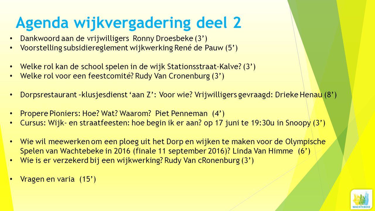 Agenda wijkvergadering deel 2 Dankwoord aan de vrijwilligers Ronny Droesbeke (3') Voorstelling subsidiereglement wijkwerking René de Pauw (5') Welke r