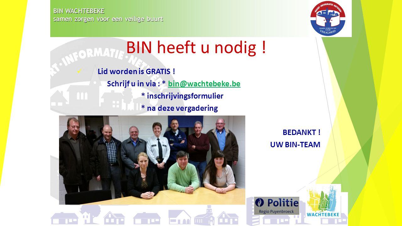 BIN WACHTEBEKE samen zorgen voor een veilige buurt Lid worden is GRATIS ! Schrijf u in via : * bin@wachtebeke.bebin@wachtebeke.be * inschrijvingsformu