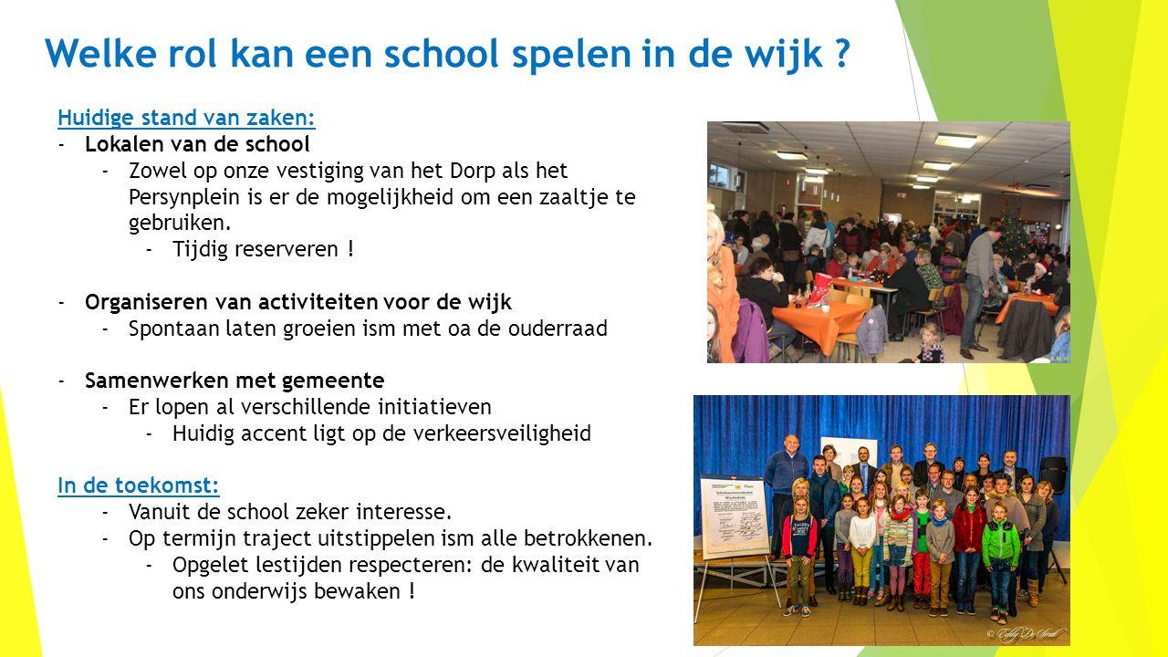 Welke rol kan een school spelen in de wijk ? Huidige stand van zaken: -Lokalen van de school -Zowel op onze vestiging van het Dorp als het Persynplein