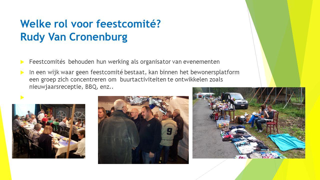 Welke rol voor feestcomité? Rudy Van Cronenburg  Feestcomités behouden hun werking als organisator van evenementen  In een wijk waar geen feestcomit