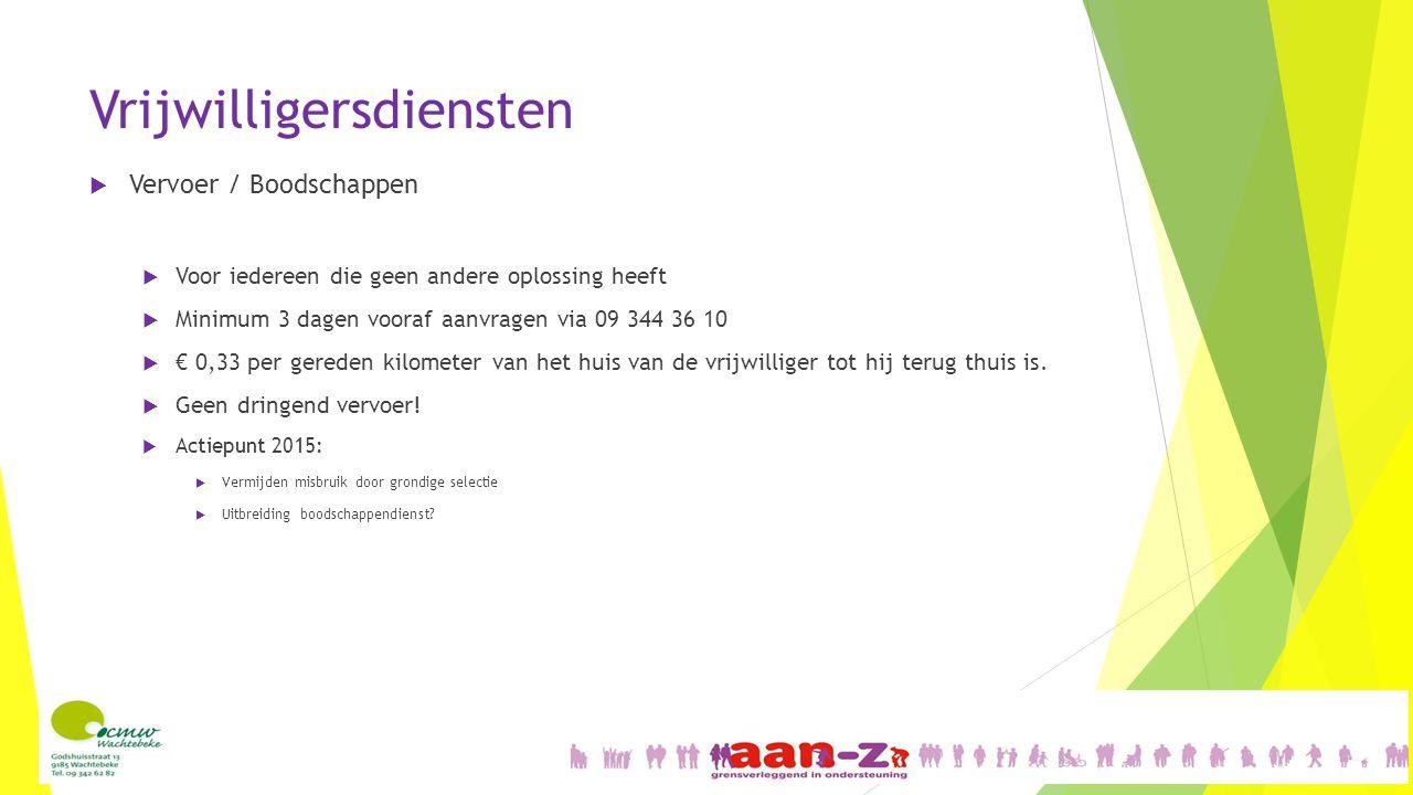 Vrijwilligersdiensten  Vervoer / Boodschappen  Voor iedereen die geen andere oplossing heeft  Minimum 3 dagen vooraf aanvragen via 09 344 36 10  €