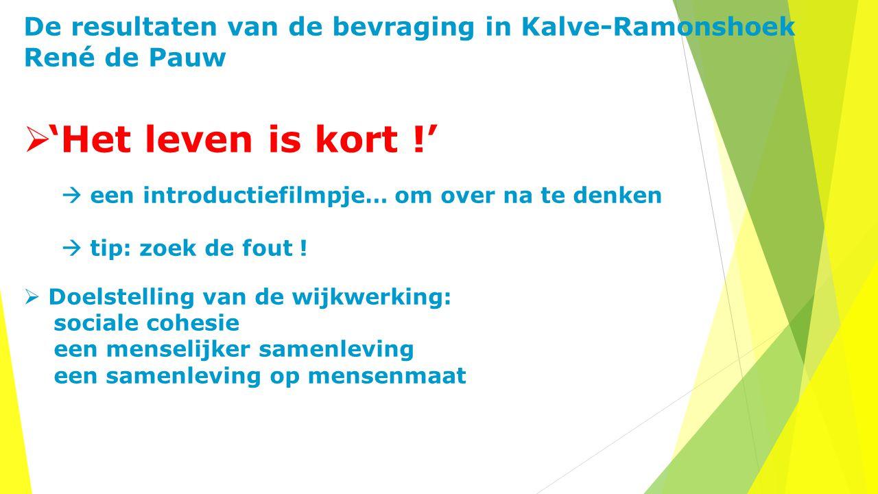 De resultaten van de bevraging in Kalve-Ramonshoek René de Pauw  'Het leven is kort !'  een introductiefilmpje… om over na te denken  tip: zoek de