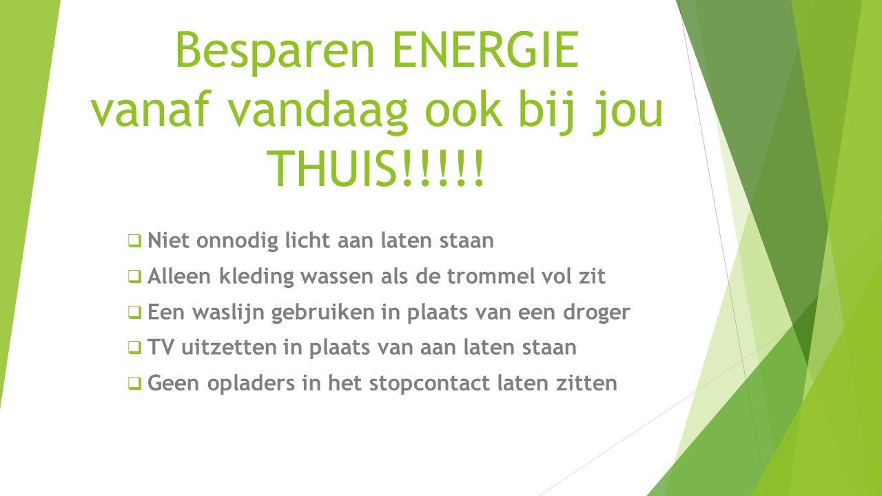 Besparen ENERGIE vanaf vandaag ook bij jou THUIS!!!!!  Niet onnodig licht aan laten staan  Alleen kleding wassen als de trommel vol zit  Een waslij