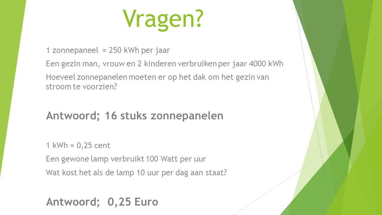 1 zonnepaneel = 250 kWh per jaar Een gezin man, vrouw en 2 kinderen verbruiken per jaar 4000 kWh Hoeveel zonnepanelen moeten er op het dak om het gezi
