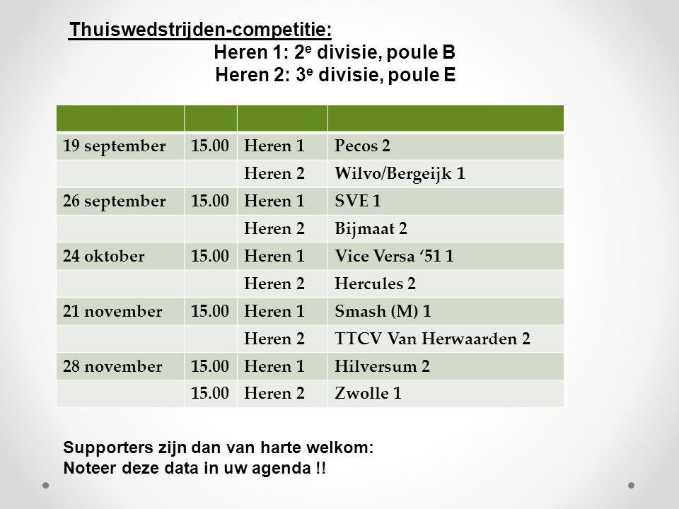 19 september15.00Heren 1Pecos 2 Heren 2Wilvo/Bergeijk 1 26 september15.00Heren 1SVE 1 Heren 2Bijmaat 2 24 oktober15.00Heren 1Vice Versa '51 1 Heren 2Hercules 2 21 november15.00Heren 1Smash (M) 1 Heren 2TTCV Van Herwaarden 2 28 november15.00Heren 1Hilversum 2 15.00Heren 2Zwolle 1 Thuiswedstrijden-competitie: Heren 1: 2 e divisie, poule B Heren 2: 3 e divisie, poule E Supporters zijn dan van harte welkom: Noteer deze data in uw agenda !!