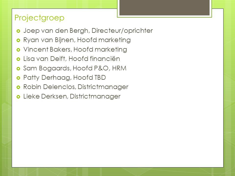 Projectgroep  Joep van den Bergh, Directeur/oprichter  Ryan van Bijnen, Hoofd marketing  Vincent Bakers, Hoofd marketing  Lisa van Delft, Hoofd fi