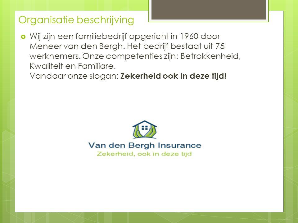 Organisatie beschrijving  Wij zijn een familiebedrijf opgericht in 1960 door Meneer van den Bergh. Het bedrijf bestaat uit 75 werknemers. Onze compet
