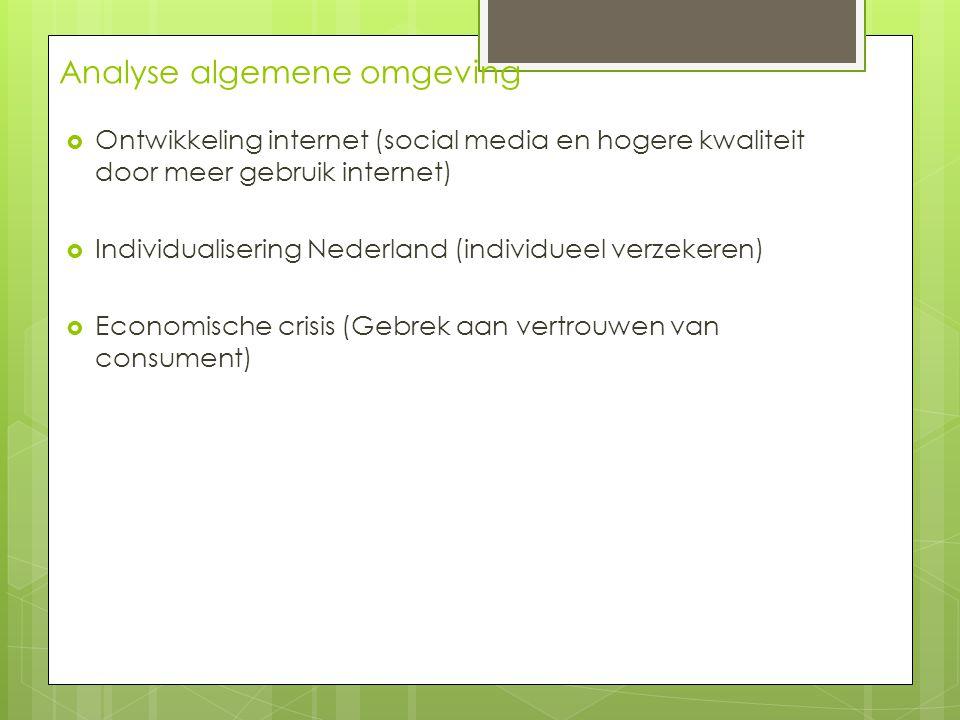 Analyse algemene omgeving  Ontwikkeling internet (social media en hogere kwaliteit door meer gebruik internet)  Individualisering Nederland (individ