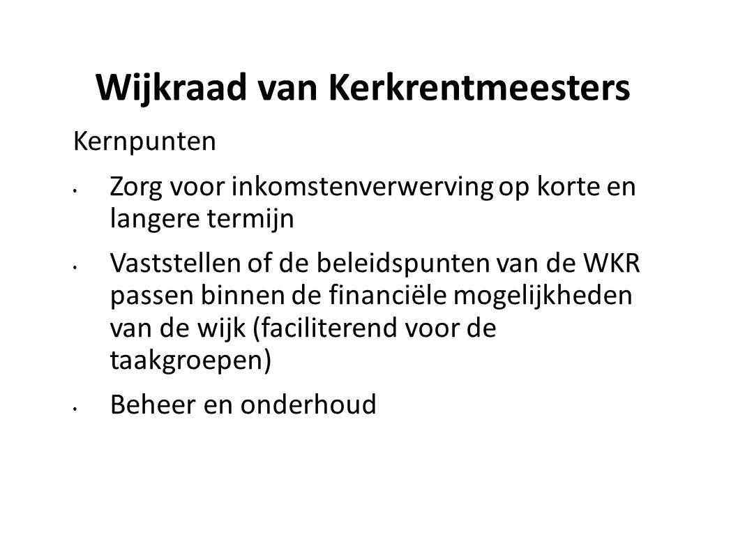 Wijkraad van Kerkrentmeesters Kernpunten Zorg voor inkomstenverwerving op korte en langere termijn Vaststellen of de beleidspunten van de WKR passen b