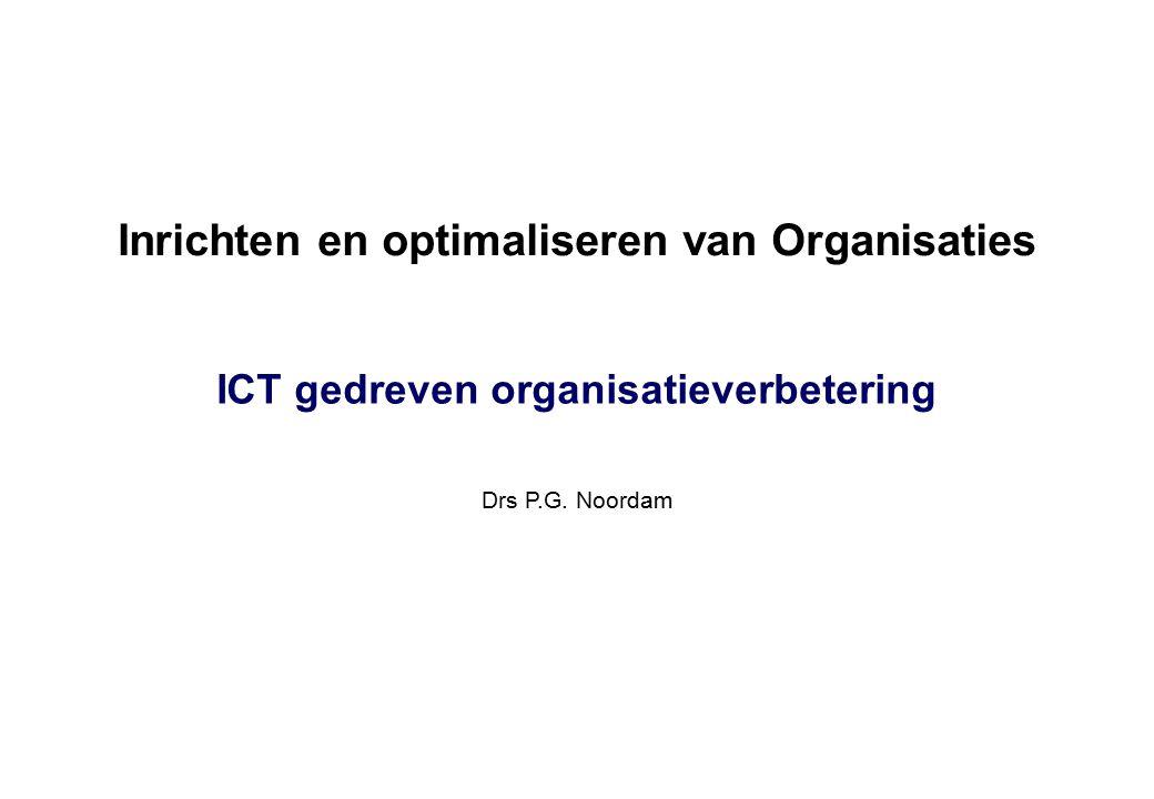 Inrichten en optimaliseren van Organisaties Drs P.G. Noordam ICT gedreven organisatieverbetering