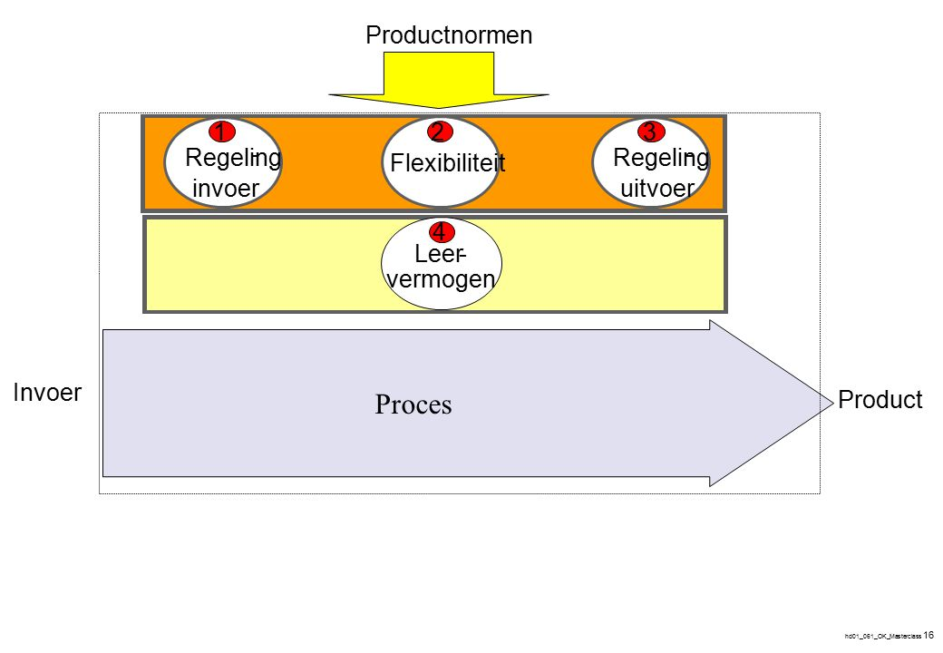 hd01_061_OK_Masterclass 16 Invoer Product Invoer- regeling Flexibiliteit Uitvoer- regeling Productnormen 132 Leer- vermogen 4 Regeling - invoer Flexib