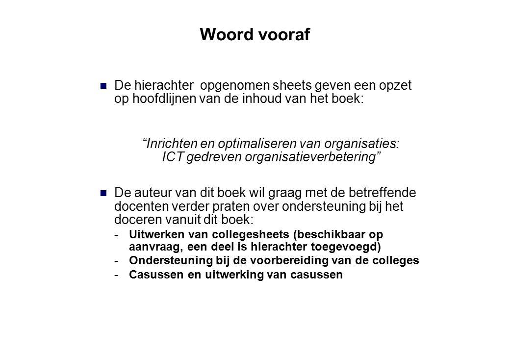 """Woord vooraf De hierachter opgenomen sheets geven een opzet op hoofdlijnen van de inhoud van het boek: """"Inrichten en optimaliseren van organisaties: I"""