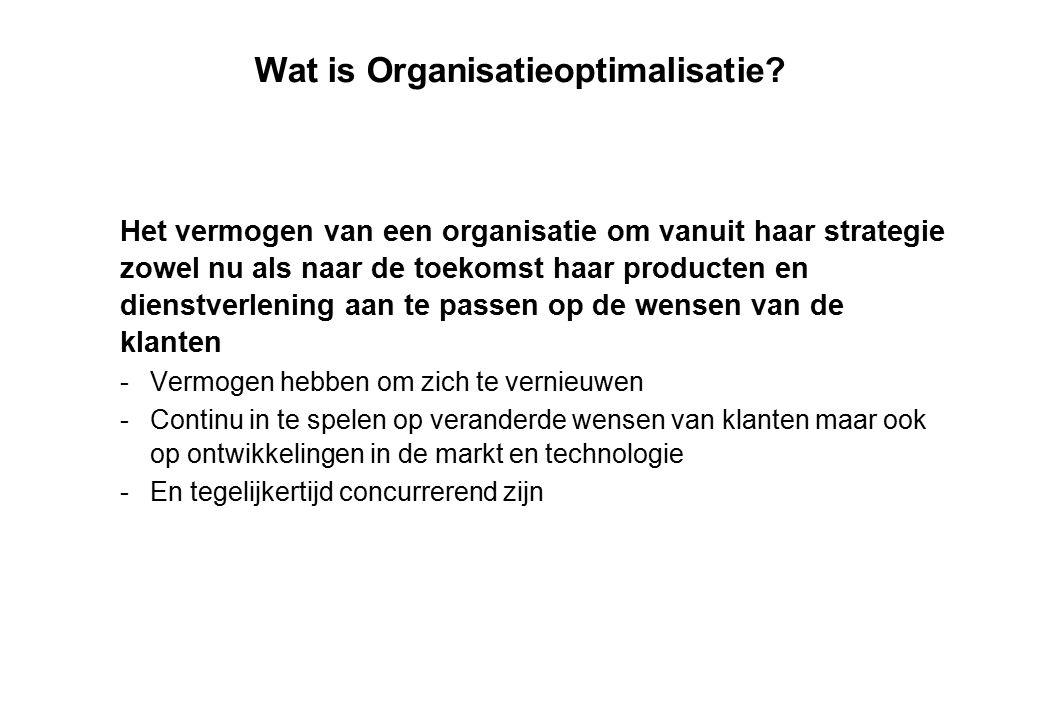 Wat is Organisatieoptimalisatie? Het vermogen van een organisatie om vanuit haar strategie zowel nu als naar de toekomst haar producten en dienstverle