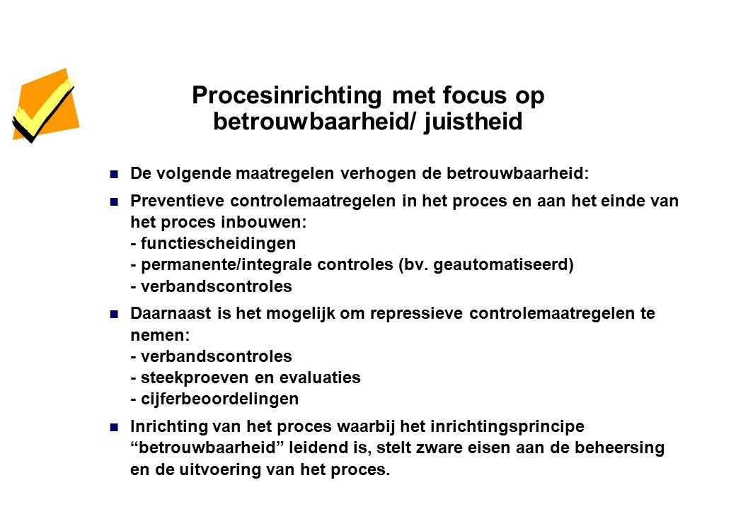 Procesinrichting met focus op betrouwbaarheid/ juistheid De volgende maatregelen verhogen de betrouwbaarheid: Preventieve controlemaatregelen in het p