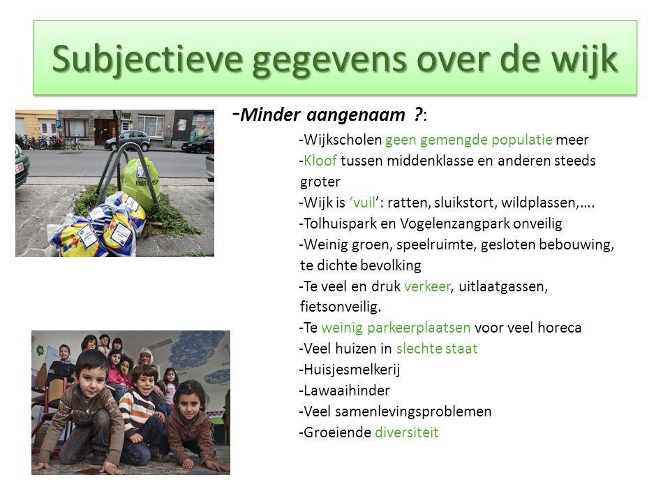 Subjectieve gegevens over de wijk - Minder aangenaam ?: -Wijkscholen geen gemengde populatie meer -Kloof tussen middenklasse en anderen steeds groter -Wijk is 'vuil': ratten, sluikstort, wildplassen,….