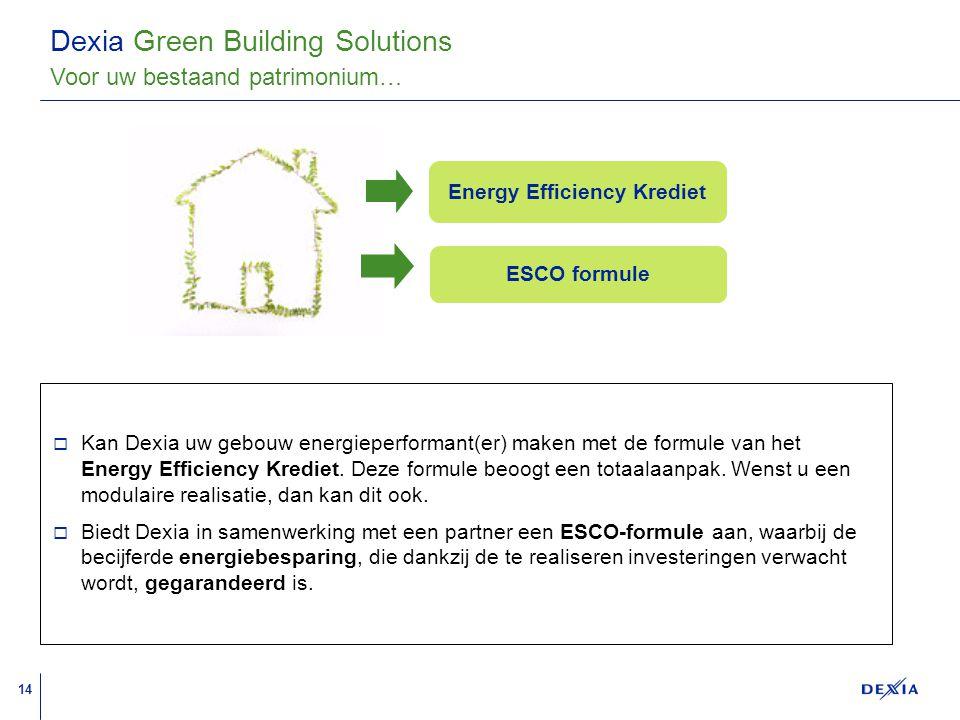 14 A A A A A A A A A A A A A A A A A A Dexia Green Building Solutions  Kan Dexia uw gebouw energieperformant(er) maken met de formule van het Energy Efficiency Krediet.