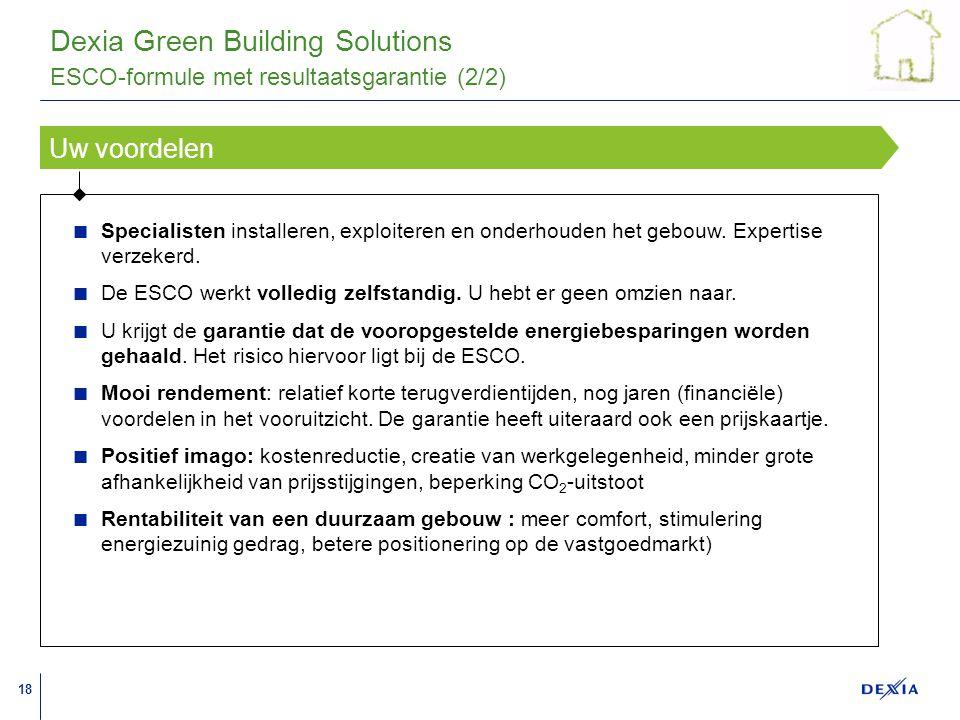 18 A A A A A A A A A A A A A A A A A A Uw voordelen Dexia Green Building Solutions Specialisten installeren, exploiteren en onderhouden het gebouw.