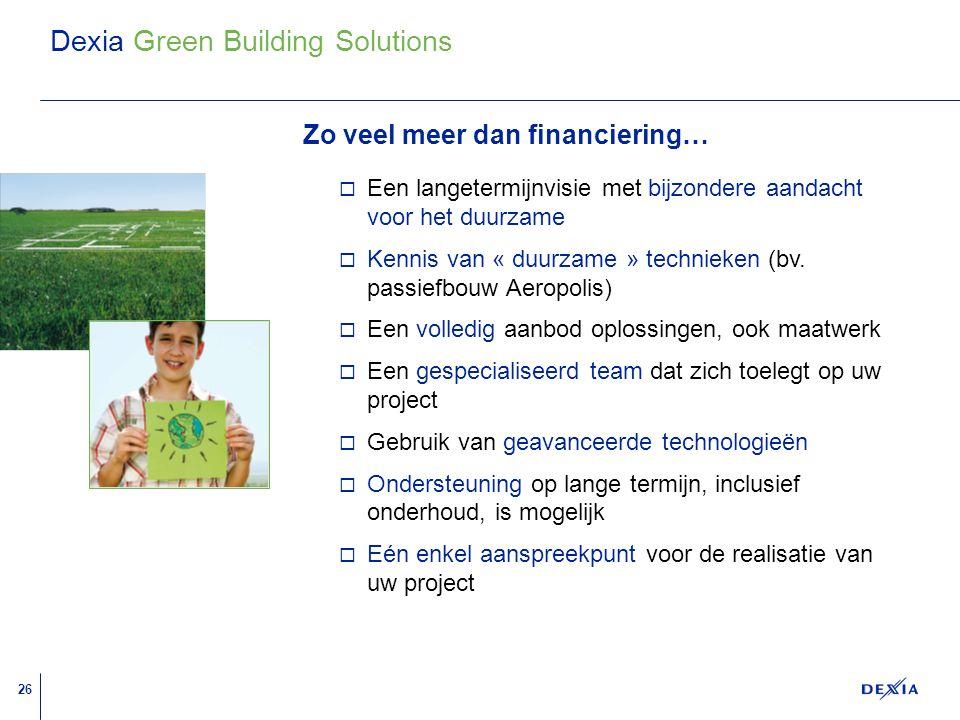 26 A A A A A A A A A A A A A A A A A A Dexia Green Building Solutions  Een langetermijnvisie met bijzondere aandacht voor het duurzame  Kennis van « duurzame » technieken (bv.