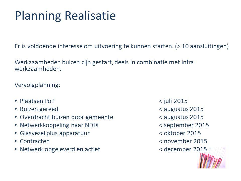 Planning Realisatie Er is voldoende interesse om uitvoering te kunnen starten.
