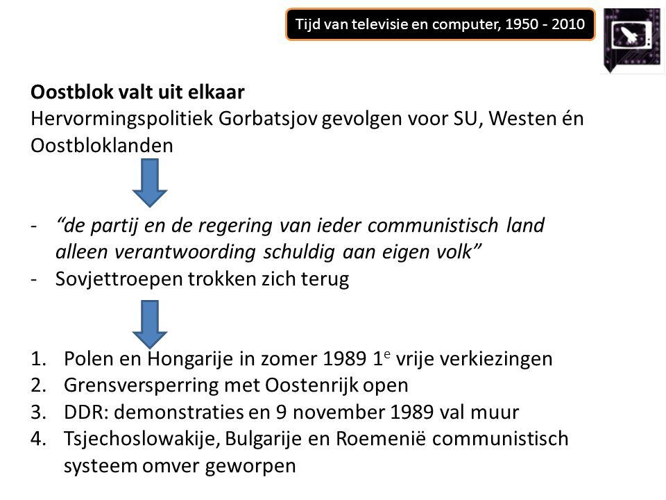 Oostblok valt uit elkaar Hervormingspolitiek Gorbatsjov gevolgen voor SU, Westen én Oostbloklanden - de partij en de regering van ieder communistisch land alleen verantwoording schuldig aan eigen volk -Sovjettroepen trokken zich terug 1.Polen en Hongarije in zomer 1989 1 e vrije verkiezingen 2.Grensversperring met Oostenrijk open 3.DDR: demonstraties en 9 november 1989 val muur 4.Tsjechoslowakije, Bulgarije en Roemenië communistisch systeem omver geworpen