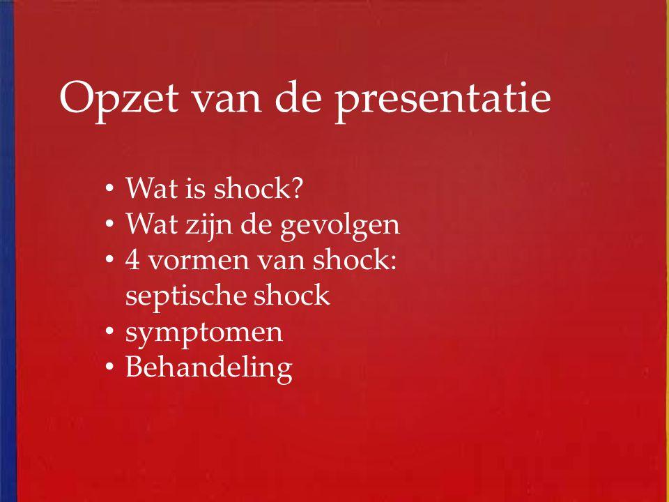 Opzet van de presentatie Wat is shock? Wat zijn de gevolgen 4 vormen van shock: septische shock symptomen Behandeling