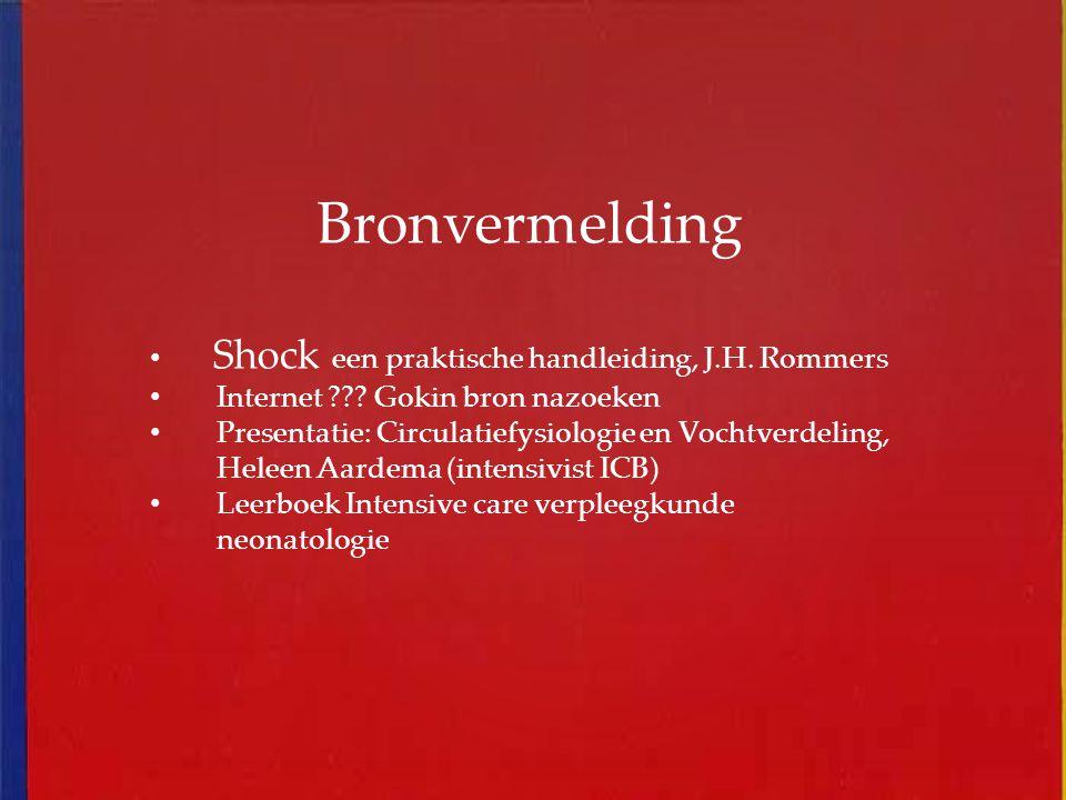 Bronvermelding Shock een praktische handleiding, J.H. Rommers Internet ??? Gokin bron nazoeken Presentatie: Circulatiefysiologie en Vochtverdeling, He
