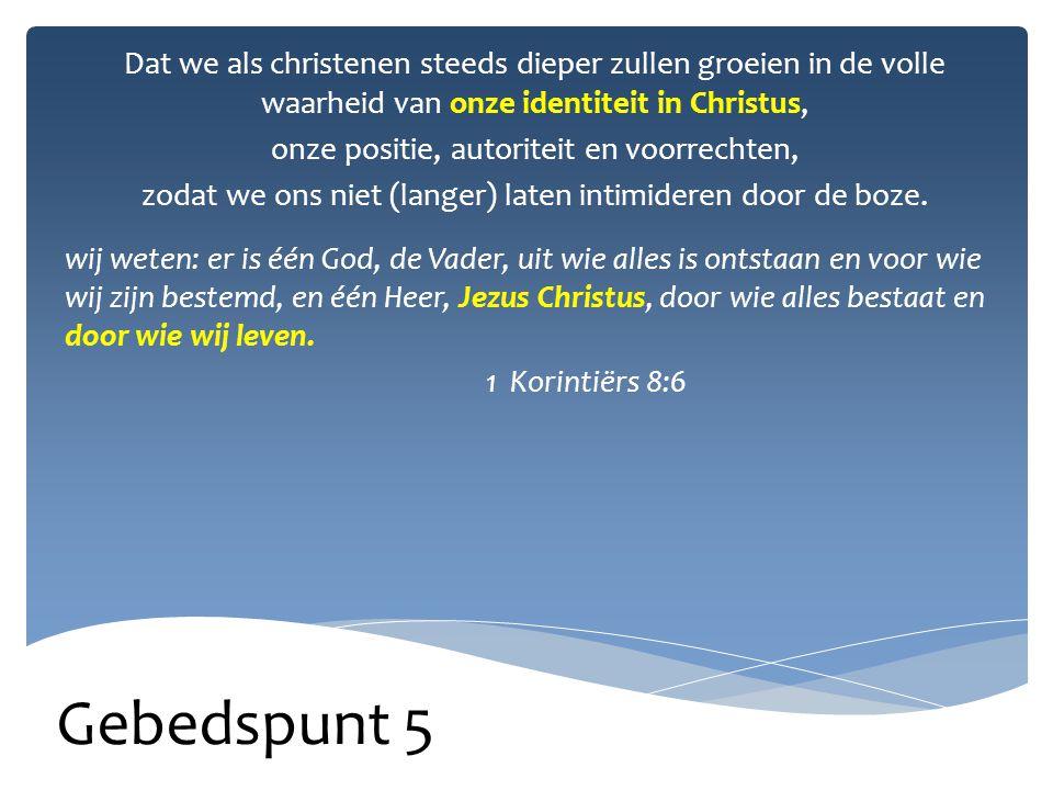Gebedspunt 6 Gebed voor onze overheden naar 1 Timoteüs 2:2 Bid ook voor koningen en machthebbers, zodat we in vrede kunnen leven.