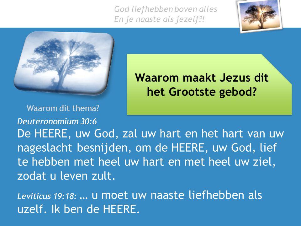 God liefhebben boven alles En je naaste als jezelf?! Waarom dit thema? Waarom maakt Jezus dit het Grootste gebod? Deuteronomium 30:6 De HEERE, uw God,