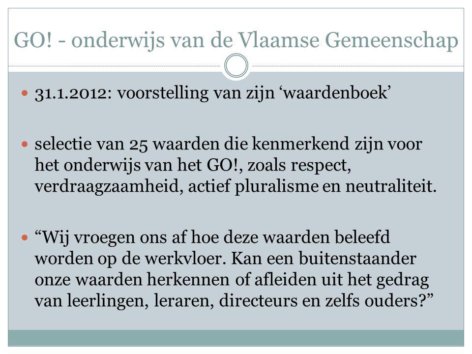 GO! - onderwijs van de Vlaamse Gemeenschap 31.1.2012: voorstelling van zijn 'waardenboek' selectie van 25 waarden die kenmerkend zijn voor het onderwi