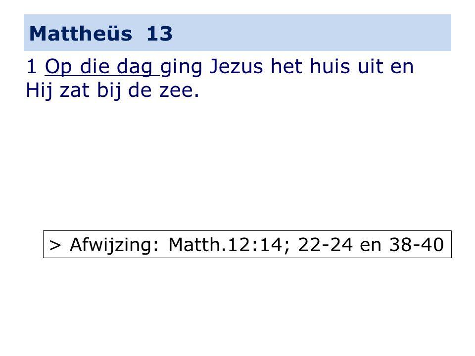 Mattheüs 13 1 Op die dag ging Jezus het huis uit en Hij zat bij de zee.