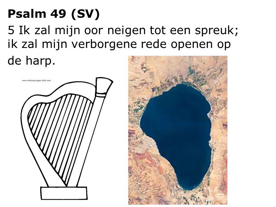 Psalm 49 (SV) 5 Ik zal mijn oor neigen tot een spreuk; ik zal mijn verborgene rede openen op de harp.