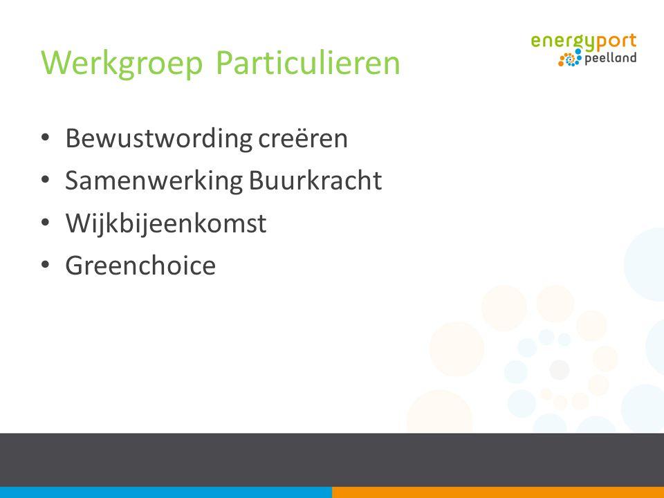 Werkgroep Particulieren Bewustwording creëren Samenwerking Buurkracht Wijkbijeenkomst Greenchoice