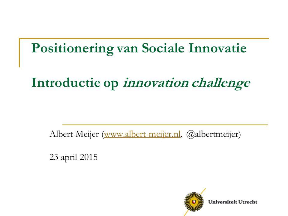 Doel van de challenge Toepassen van kennis over maatschappelijke innovatie Leren samenwerken in een interdisciplinair team Verkrijgen van inzicht in praktijkvragen rondom maatschappelijke innovatie Leveren van een concrete bijdrage aan maatschappelijke innovatie