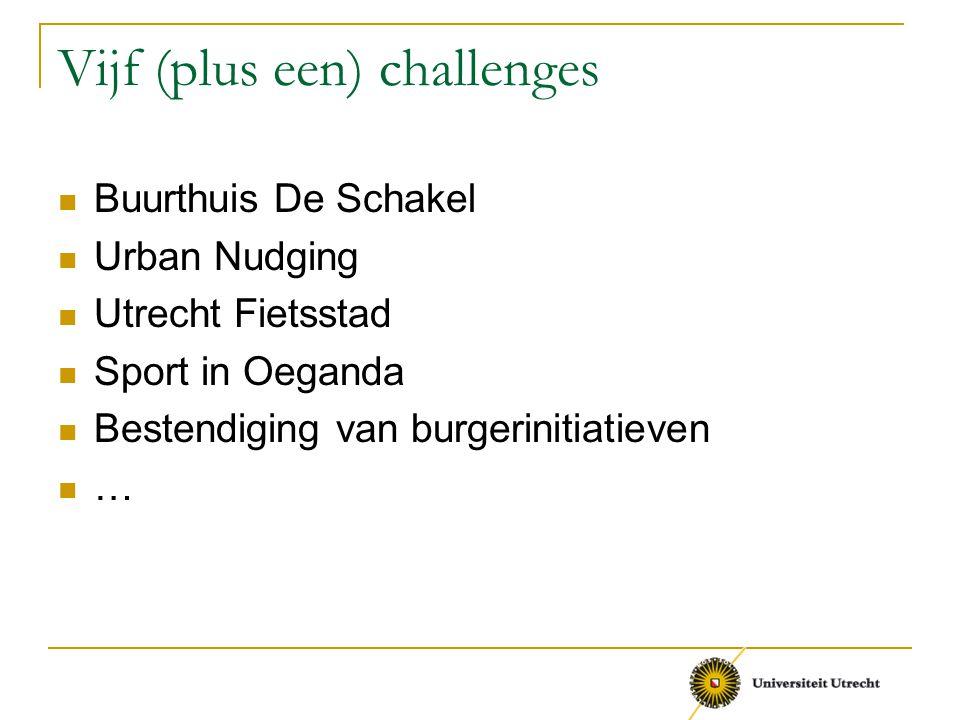 Vijf (plus een) challenges Buurthuis De Schakel Urban Nudging Utrecht Fietsstad Sport in Oeganda Bestendiging van burgerinitiatieven …