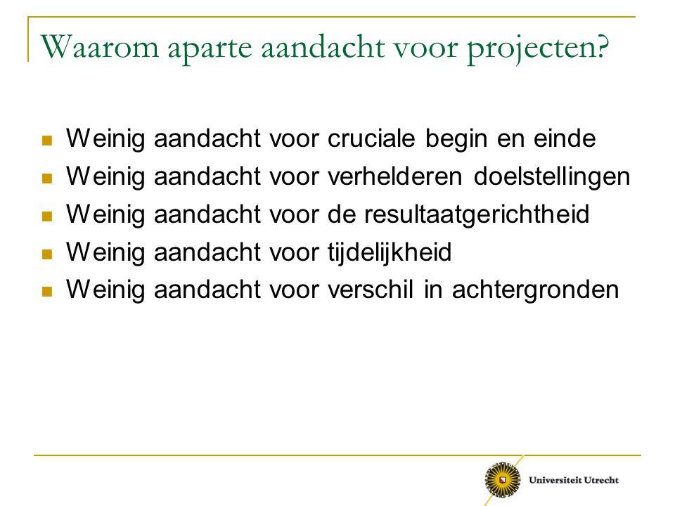 Waarom aparte aandacht voor projecten? Weinig aandacht voor cruciale begin en einde Weinig aandacht voor verhelderen doelstellingen Weinig aandacht vo