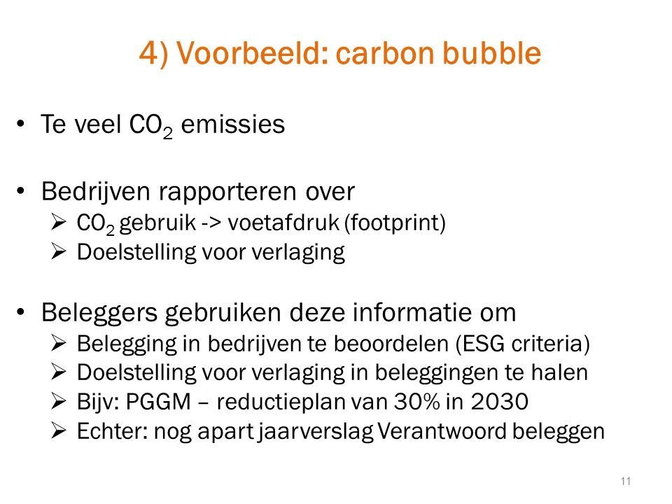 4) Voorbeeld: carbon bubble Te veel CO 2 emissies Bedrijven rapporteren over  CO 2 gebruik -> voetafdruk (footprint)  Doelstelling voor verlaging Beleggers gebruiken deze informatie om  Belegging in bedrijven te beoordelen (ESG criteria)  Doelstelling voor verlaging in beleggingen te halen  Bijv: PGGM – reductieplan van 30% in 2030  Echter: nog apart jaarverslag Verantwoord beleggen 11
