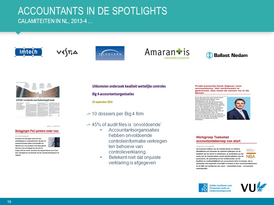 19 ACCOUNTANTS IN DE SPOTLIGHTS CALAMITEITEN IN NL, 2013-4 … -> 10 dossiers per Big 4 firm -> 45% of audit files is 'onvoldoende' Accountantsorganisat