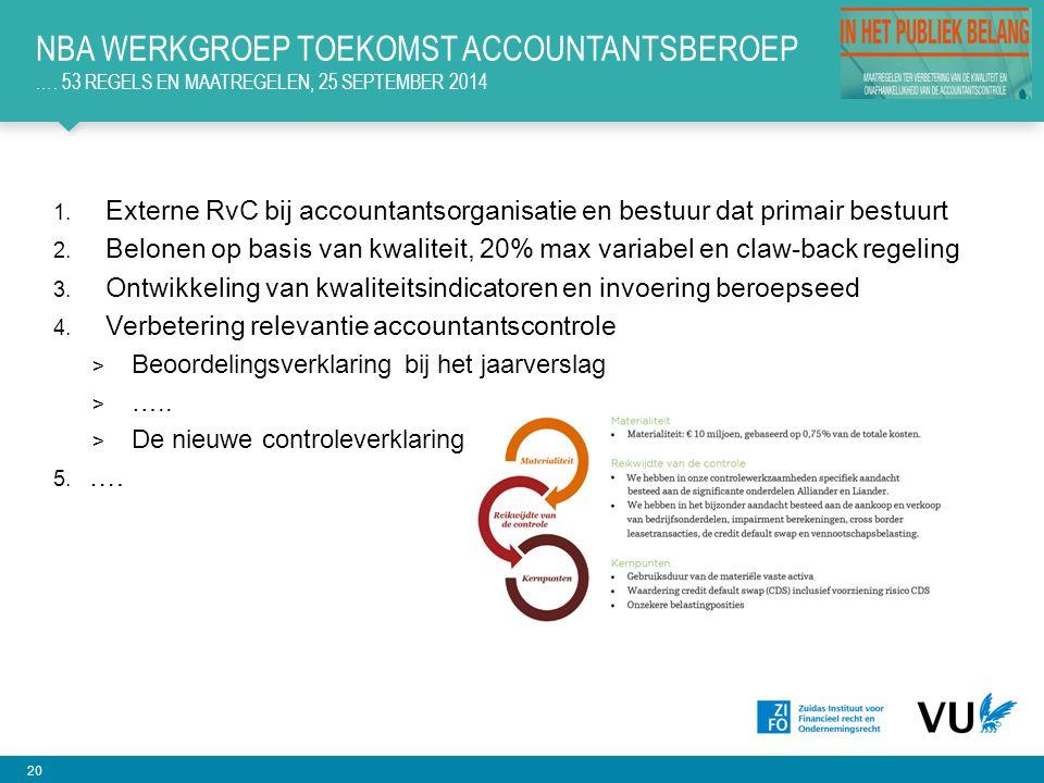 20 1.Externe RvC bij accountantsorganisatie en bestuur dat primair bestuurt 2.