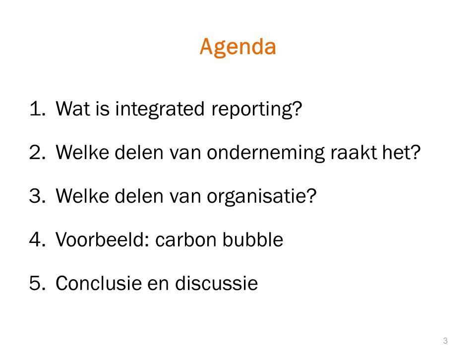Agenda 1.Wat is integrated reporting.2.Welke delen van onderneming raakt het.