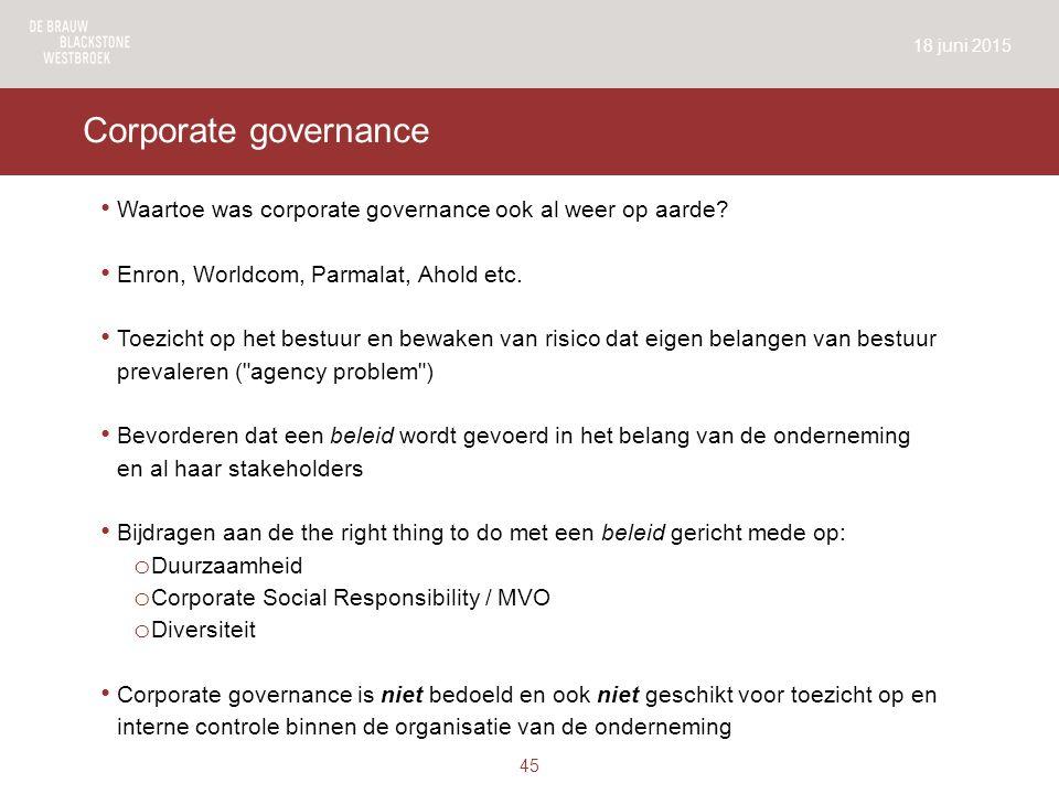Corporate governance Waartoe was corporate governance ook al weer op aarde.