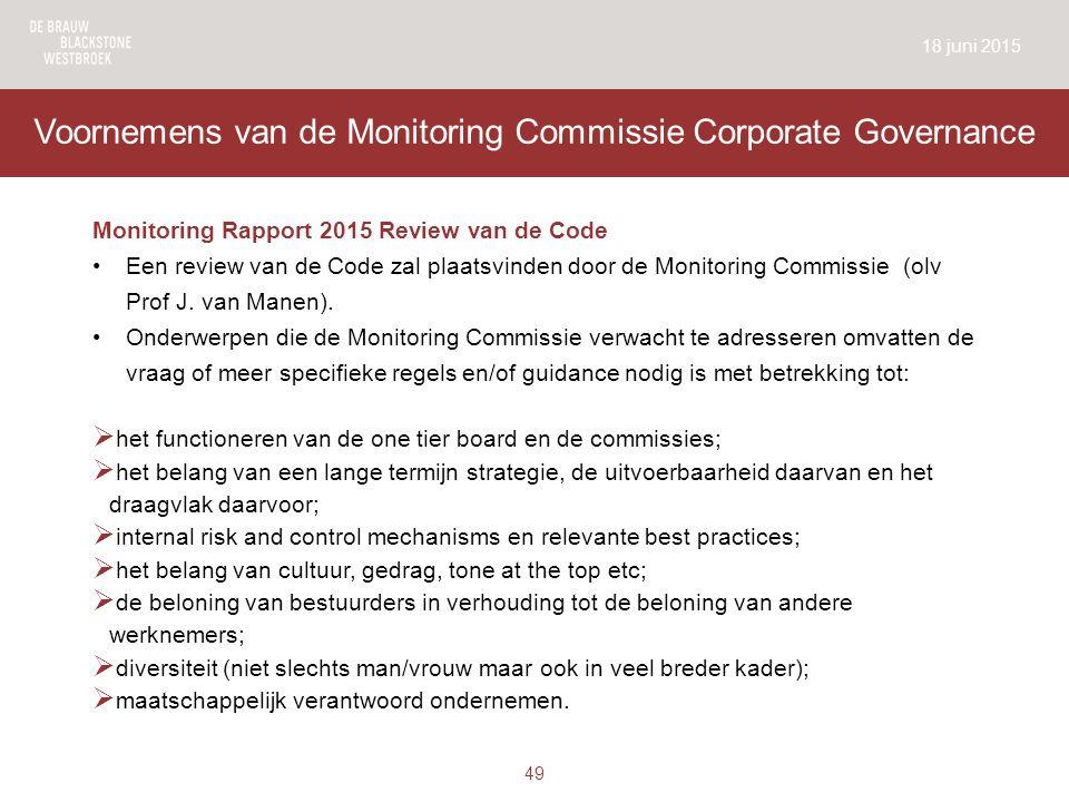 Voornemens van de Monitoring Commissie Corporate Governance Monitoring Rapport 2015 Review van de Code Een review van de Code zal plaatsvinden door de Monitoring Commissie (olv Prof J.